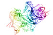 Colorful smoke on white background.