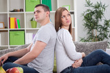 Upset couple with marital problems