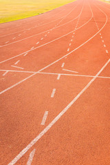 athletics track lanes with white line
