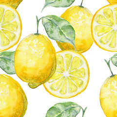 Watercolor seamless background fresh lemon.