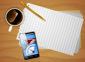 Smartphone on desk vector business background