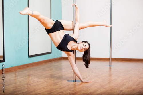 Showing off my pole dancing routine