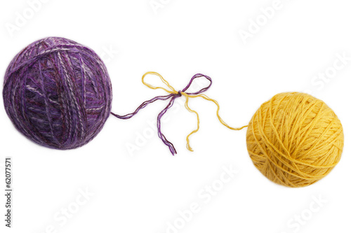 two colored skeins