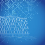 Vector blueprint background with building plans