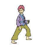 martial art boy cartoon