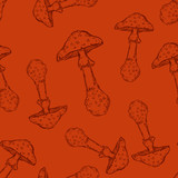 Vector Seamless Pattern of Mushrooms