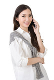 Smiling happy Asian woman using smartphon