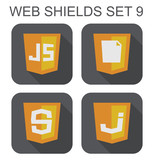 vector collection of  javascript web development shield signs: j