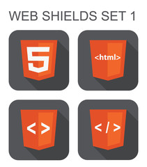 vector collection of html web development shield signs: html5, t