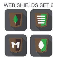 vector collection of mongo database web development shield signs