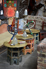 Hookah sits on the table in Turkish style in natural light