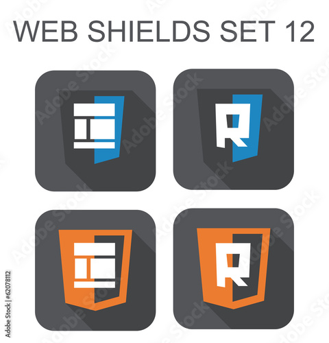 vector collection of  web responsive design shield signs: layout