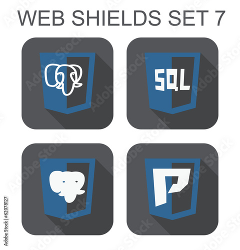 vector collection of postgre database web development shield sig