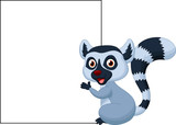 Cute lemur holding blank sign