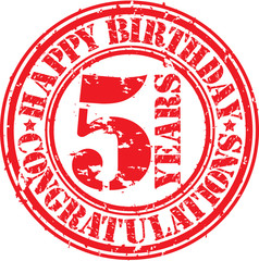 Happy birthday 5 years grunge rubber stamp, vector illustration