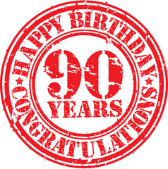 Happy birthday 90 years grunge rubber stamp, vector illustration