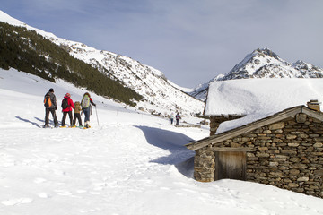 Grupo familiar andando con raquetas de nieve por un valle