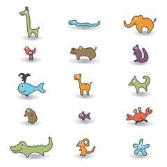animals colored icons
