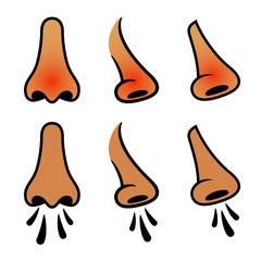 vector human nose sneeze cold icons