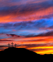 Easter sunset sky with crosses - religious Christian background