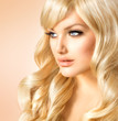 canvas print picture - Beauty Blonde Woman. Beautiful girl with long curly blond hair