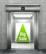 Big sale concept. Modern elevator with open door