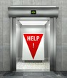 Business help. Modern elevator with red down arrow