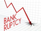 Bankruptcy chart crisis and down arrow poster