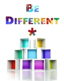 Be different concept colorful 3d design