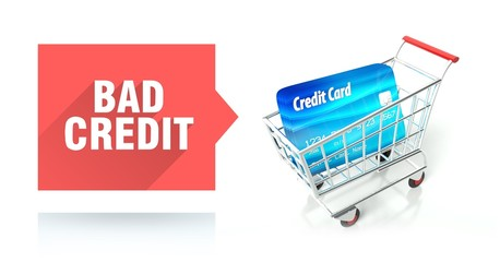 Bad credit score, concept with shopping cart