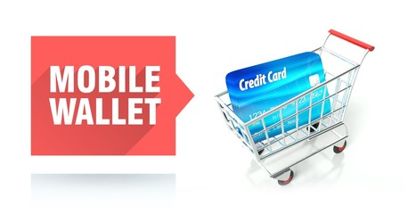 Mobile wallet. credit card and shopping cart