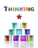 Thinking concept with colorful 3d design