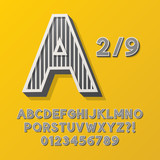 Retro Stripe Style 2/9 Alphabet and Numbers, Eps 10 Vector Edita