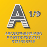 Retro Stripe Style 1/9 Alphabet and Numbers, Eps 10 Vector Edita