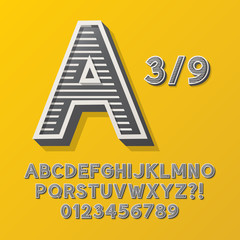 Retro Stripe Style 3/9 Alphabet and Numbers, Eps 10 Vector Edita