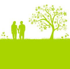 Liebespaar Wiese Baum grün