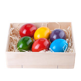 Easter Eggs in a Wooden Box isolated on White
