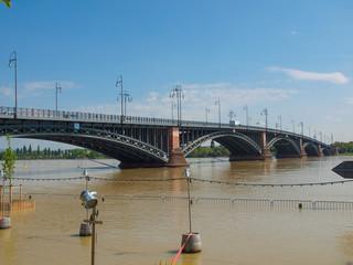 River Rhine Flood in Mainz, Germany