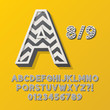 Retro Stripe Style 8/9 Alphabet and Numbers, Eps 10 Vector Edita
