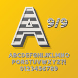 Retro Stripe Style 9/9 Alphabet and Numbers, Eps 10 Vector Edita