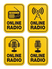 online radio yellow signs