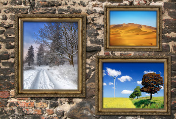 Wooden frames with beautiful landscapes