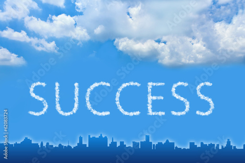 Success text on cloud