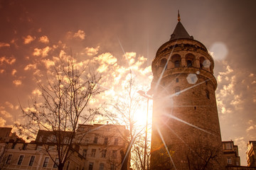Galata Tower, Istanbul, Turkey, at sunset sky