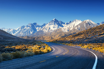 Highway / Road in USA desert with mountains