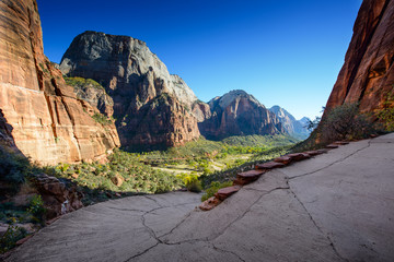 A stunning view of Zion Canyon / landing angels path /