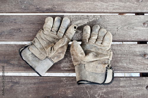 Old worker gloves