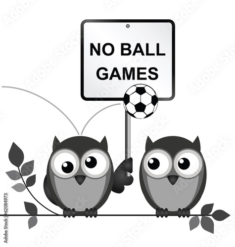 Monochrome comical no ball games sign
