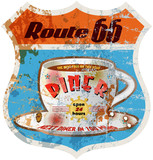 retro route 66 diner sign,weathered and worn, vector