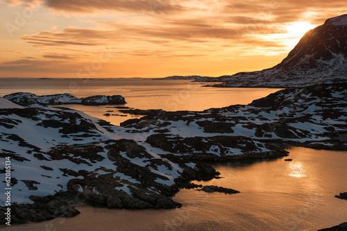 Fotobehang Antarctica 2 Sunset view at Sisimiut, Greenland.